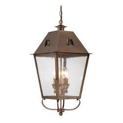 Minka Lavery - Minka Lavery Outdoor 72425-212 Edenshire English Brass 4 Light Pendant - Clear Seeded Glass Shade
