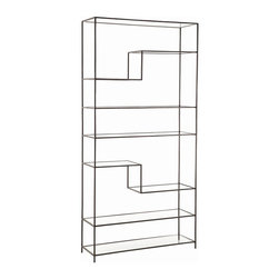 Arteriors - Worchester Bookshelf, Natural Iron - This stylish asymmetrical bookshelf offers a terrific way to store and display your stuff. The textured iron frame features either a bright gold-leaf or natural iron finish and tiered glass shelves.