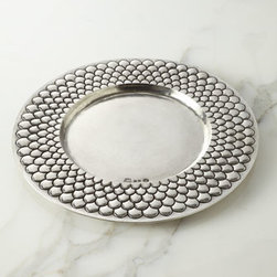 """Horchow - Medieval Pewter Charger Plate - With a design reminiscent of a medieval shield, this handsome charger plate adds texture and Old World charm to table settings. Handcrafted of pewter. Hand-painted antiqued-pewter finish. Hand wash. 13.75""""Dia. Made in Italy."""