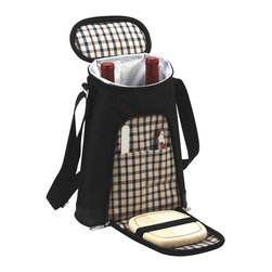 Picnic at Ascot - Wine & Cheese Cooler, Black/Plaid - Thermal Shield™ Insulated two wine bottle carrier with leak-proof lining. Movable padded interior divider allows room for larger bottles or use as a small cooler. Includes cutting board, cheese knife and corkscrew.  Designed and Assembled in the USA. Lifetime Warranty.