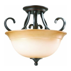 DHI-Corp - Cameron 2-Light Semi-Flush Pendant, Oil Rubbed Bronze - The Design House 512608 Cameron 2-Light Semi-Flush Pendant is made of formed steel, antique glass and finished in oil rubbed bronze. This 2-light pendant is rated for 120-volts and uses (2) 60-watt medium base incandescent bulbs. This pendant's versatile design is applicable for high or low ceilings. As a laid-back alternative to a chandelier, this fixture maintains a sophistiCated appeal while delivering indirect light with a pleasing aesthetic. Measuring 12.25-inches (H) by 14-inches (W), this 4.84-pound fixture has graceful scrolled arms that accentuate the antique glass to create an elegant accent in a hallway, kitchen or dining room. This product is UL and cUL listed and suited for damp areas. The Cameron collection features a beautiful matching chandelier, sconce, ceiling mount and vanity light. The Design House 512608 Cameron 2-Light Pendant comes with a 10-year limited warranty that protects against defects in materials and workmanship. Design House offers products in multiple home decor Categories including lighting, ceiling fans, hardware and plumbing products. With years of hands-on experience, Design House understands every aspect of the home decor industry, and devotes itself to providing quality products across the home decor spectrum. Providing value to their customers, Design House uses industry leading merchandising solutions and innovative programs. Design House is committed to providing high quality products for your home improvement projects.