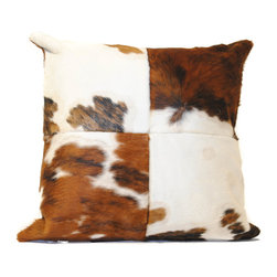 """Diseño Boston - Complete Cowhide pillows - These pillows are a great way to introduce the unique texture and feel of cowhide to a room. They come in 14, 16, 18, 20"""" squares. Most in stock are black and white, caramel brown and white, and tricolor. Custom sizes and all natural as well as dyed colors available upon request.  Please call for specific sizes and colors."""