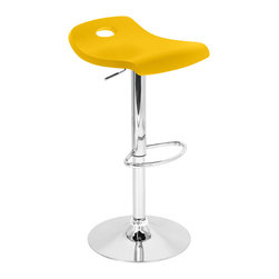 "Lumisource - Surf Bar Stool, Yellow - 16"" W x 16"" L x 27 - 36"" H"