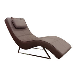 White Line Imports - Soho Chaise in Chocolate Leatherette - The chaise is supported by durable chromed frame and covered in chocolate leatherette. Soho Chaise in Chocolate Leatherette will be a centerpiece in any contemporary space.