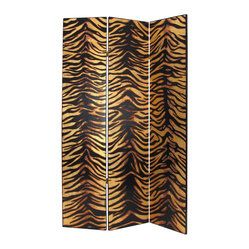 Wayborn - Wayborn Gold Leaf Zebra Room Divider in Black/Gold - Wayborn - Room Dividers - 2302X - Wayborn coromandel screen start with a cedar plywood frame covered in a cheesecloth material. Then layer after layer of plaster is applied; each layer must dry before another layer can be applied. After all the plaster has been applied several coats of lacquer is put over the entire surface. The design is drawn onto life-sized paper and carefully traced on to the panels. The craftsman then hand carves the design into the screen through the lacquer into the plaster. Once the screen is done it is painted with water based paint or silver/gold leaf is applied and sealed with a clear lacquer coat.