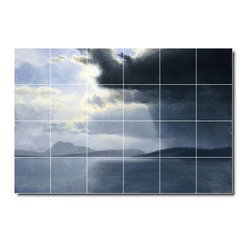 Picture-Tiles, LLC - Approaching Thunderstorm On The Hudson River Tile Mural By Albert Bier - * MURAL SIZE: 48x72 inch tile mural using (24) 12x12 ceramic tiles-satin finish.
