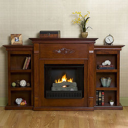 Upton Home - Dublin Gel Fuel Fireplace wtih Bookcases - Enjoy cozy winter nights relaxing in front of this gel fuel fireplace. This is a great way to update your home,and requires no electrician or contractor for installation. The fireplace runs on gel fuel which does not emit smoke,odor or ash.