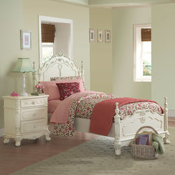 None - Fairytale Victorian Princess White Twin-size Bed and Nightstand - This kids' furniture set features Victorian styling with floral motif hardware, ecru painted finish and traditional carving details that create the feeling of a princess. This Fairytale Collection bedroom set includes a twin-size bed and nightstand.