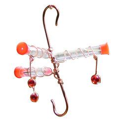 Songbird Essentials - Whitemsy Three Hummingbird Feeder - Contemporary in design. 3 red glass bead dangles and red caps attract the hummingbirds like a magnet. This feeder features a bottom hook, allowing it to serve double duty to hang flower baskets, wind chimes and more.