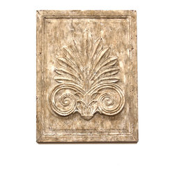 "Carved Panel - H:30"" W:23"" D:3/4"" - This off-white coffered panel offers classical Grecian style with architectural details, made easy to add to a niche or accent wall. The rectangular panel is coffered and carved with an Ionic ram's-horn volute on a stylized but gorgeously rendered leaf of palm. Its finish is a delicate matte ivory, carefully aged just enough to lend a sense of authority to the beautiful hanging panel. For a more formal look, order multiples or mix with the coordinating shell-motif panel."