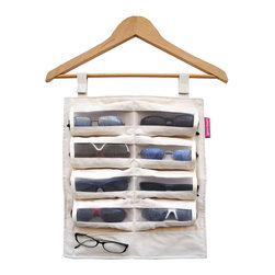 Great Useful Stuff - Hang-Hers Glasses Organizer - When it comes to organizing your accessories, be open-minded and think outside the box. To showcase your specs, try this stylish hanging organizer with 10 plush pockets to protect your collection of eyeglasses, sunglasses or readers.