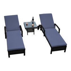 "Reef Rattan - Reef Rattan 3 Piece Islander Chaise Lounger Set Black Rattan / Ocean Blue Cushio - Reef Rattan 3 Piece Islander Chaise Lounger Set Black Rattan / Ocean Blue Cushions. This patio set is made from all-weather resin wicker and produced to fulfill your needs for high quality. The resin wicker in this patio set won't fade, shrink, lose its strength, or snap. UV resistant and water resistant, this patio set is durable and easy to maintain. A rust-free powder-coated aluminum frame provides strength to withstand years of use. Sunbrella fabrics on patio furniture lends you the sophistication of a five star hotel, right in your outdoor living space, featuring industry leading Sunbrella fabrics. Designed to reflect that ultra-chic look, and with superior resistance to the elements in a variety of climates, the series stands for comfort, class, and constancy. Recreating the poolside high end feel of an upmarket hotel for outdoor living in a residence or commercial space is easy with this patio furniture. After all, you want a set of patio furniture that's going to look great, and do so for the long-term. The canvas-like fabrics which are designed by Sunbrella utilize the latest synthetic fiber technology are engineered to resist stains and UV fading. This is patio furniture that is made to endure, along with the classic look they represent. When you're creating a comfortable and stylish outdoor room, you're looking for the best quality at a price that makes sense. Resin wicker looks like natural wicker but is made of synthetic polyethylene fiber. Resin wicker is durable & easy to maintain and resistant against the elements. UV Resistant Wicker. Welded aluminum frame is nearly in-destructible and rust free. Stain resistant sunbrella cushions are double-stitched for strength and are fully machine washable. Removable covers made with commercial grade zippers. Tables include tempered glass top. 5 year warranty on this product. Chaise Lounger (2): W 29"" D 78"" H 10"", Coffee Table: W 20"" D 18"" H 10"""