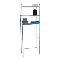 Metal Toilet Space Saver / 3 Tier Wire Shelves Chrome - This toilet space saver is metal and has a chrome plated finish. This elegant chrome bath furniture compliments any decor while adding plenty of storage space and display for your essentials. This bathroom storage system maximizes wasted space and features 3 tier wire shelves to increase your ability to organize your things in small spaces. This toilet space saver is easy to assemble with the included hardware. Clean with warm soapy water. Length 24-Inch, width 11-Inch and height 68.5-Inch. Color chrome. It's an easy and elegant way to maximize your bathroom's available space while providing functional storage and shelving for all your necessities. Give a decorative touch to your bathroom with this useful metal space saver! Imported.