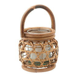 "Kouboo - Round Rattan Lantern - Made by hand from rattan peel, this medium-sized rattan lantern is a beautiful accent for the home or outdoor tablescape. A rich honey finish makes this lantern an elegant addition to any room of the home, while a glass cylinder allows it to be used outdoors. Displays one 3""x3"" pillar candle for added romance and ambience, and is perfect as an addition to intimate table settings or for embellishing tables, shelves or mantles."
