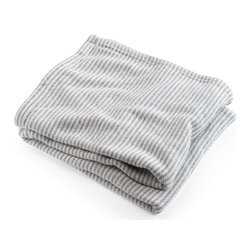 Brahms Mount - Brahms Mount - Cotton Ticking Stripe Blanket - French Blue - An enduring cotton blanket style as durable as the vintage textiles that inspired it, yet so much softer. Buy directly from the manufacturer - Brahms Mount - Made in Maine, USA