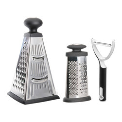 Berghoff - Studio Grater with Peeler, 2-Piece Set - Just when you thought you had the kitchen essentials all figured out. Are you thinking now that you're missing a few important details? This affordable, stylish and ergonomic set gives you three different varieties of grating/zesting and peeling, all at your fingertips, literally. No more regrets... just buy and happily use.