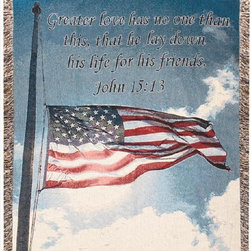 Manual - A Salute To Our Soldiers Patriotic Tapestry Throw Blanket 50 in x 60 in John - This multicolored woven tapestry throw blanket is a wonderful addition to the home of any service-person or veteran. Made of cotton, the blanket measures 50 inches wide, 60 inches long, and has approximately 1 1/2 inches of fringe around the border. The blanket features an American Flag, with a Bible verse; 'Greater love has no one than this, that he lay down his life for his friends. John 15:13' Care instructions are to machine wash in cold water on a delicate cycle, tumble dry on low heat, wash with dark colors separately, and do not bleach. This comfy blanket makes a great gift for family members of American service-persons.