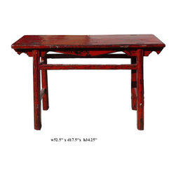 Chinese Thick Rustic Red Lacquer Console Altar Table - This is a simple altar table with thick uneven rustic red lacquer on the surface. The lacquer layer may have dry weather effect, dropping off, it will be touched up with blackish red stain.