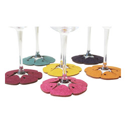 Dimlim - Stemware Coasters Mandarin, Zesty, Regular/White Wine - A set of 6 stemware coasters that wrap around the bottom of wine glasses and serve as a tag as well as coasters, to identify your guests drink and protect furniture from liquid damage.