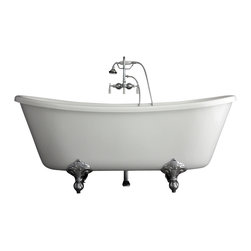 "Baths of Distinction - Hotel Collection Bateau Double Slipper Clawfoot Bathtub/Faucet Package - Package consists of a beautiful 67""bateau double slipper clawfoot bathtub along with hardware including wall mounted faucet with handheld shower, drain with lift off stopper, and claw feet all in chrome.  Bathtub is made of CoreAcryl acrylic with a resin/powdered stone filler.  Bathtub has a built in aluminum hear barrier within the tub body.  This tub is an nice soaking tub with good leg room and a nice depth."
