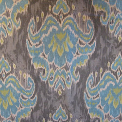 Fabulous Fabrics - Bright turquoise and lime print on a slate background.  Ikat and damask feeling.