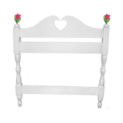 Poodles in Paris Twin Headboard - Two French tulips spring from the posts of this darling French colonial style twin headboard comes complete with turned posts, and a heart-shaped cut-out on the headboard. Solid Pine with white finish. Attaches with bolts to any standard twin bed frame.