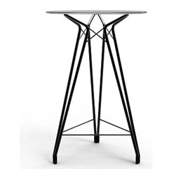 Kubikoff - Diamond Bar Table, Black Lacquered Top, Black Lacquered Metal Base - Diamond Bar Table