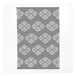 Andalusia Wool Dhurrie, Feather Gray/Ivory - Pair this gray and white area rug with a pop of pink or bright orange.