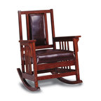 Coaster - Wooden Rocker in Dark Oak Finish - Mission style. High chair back. Open slats. Elegant wooden arms. Distinctive slat motif on the sides. Exposed joinery. Plush leather match upholstered seat and back. Straight wooden arms with slat sides. 29.5 in. L x 35.25 in. W x 39 in. H. Warranty