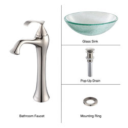 Kraus - Kraus C-GV-500-12mm-15000BN Broken Glass Vessel Sink and Ventus Faucet, Brushed - Add a touch of elegance to your bathroom with a glass sink combo from Kraus