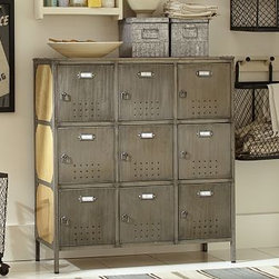 "Arden Wood & Metal Locker - Vintage gymnasium lockers were the inspiration for this durable piece, ideal for the entry, mudroom or laundry room. Assign a locker to each family member, or use it to sort and store items such as shoes, backpacks, detergent and recycling. 37.5"" wide x 15"" deep x 41.5"" high Handcrafted and antiqued for vintage quality. Features nine locker doors made of sheet metal with metal pulls and twist locks. View our {{link path='pages/popups/fb-media.html' class='popup' width='480' height='300'}}Furniture Brochure{{/link}}."
