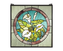 Meyda Tiffany - Meyda Tiffany CALLA Calla Lily Window X-66832 - This Meyda Tiffany window from the Calla Lilly Collection features traditional detailing complimented by soft tones. The light shades of lavender pair beautifully with the bone white colors of the lily bouquet. Shades of aqua and green accentuate the bouquet while a coordinating off-white trim completes the look.