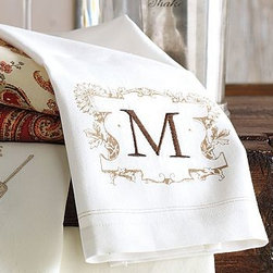 """Monogrammable Bar Towel, Set of 2 - Our set of bar towels can be monogrammed with up to two initials, making everyday dining - and cleanup - just a little more special. 16 x 18"""" Made of pure cotton. Set of 2. Machine wash. Monogramming is available at an additional charge. Monogram will be centered in the decal at one end of each towel. Catalog / Internet only. Imported."""