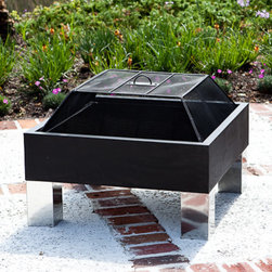 """Fire Sense - HotSpot Square Fire Pit - We are pleased to offer the finest in British design and quality in the HotSpot Square Fire Pit. Constructed of pressed steel and stainless steel, this sturdy and attractive fire pit is built to last. The Square Fire Pit features a 26"""" x 26"""" steel fire box with stainless steel legs. Comes complete with dome spark screen."""