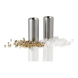 "Stelton Cylinda Line Salt & Pepper Set by Arne Jacobsen - Set of pepper and salt shaker made entirely of stainless steelSatin polished stainless steel finishDimensions: 2.5 H x 0.8"" diameter (6.3 x 2 cm )Designed in 1967 by Arne JacobsenMade in Denmark"