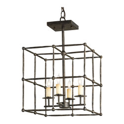 Kathy Kuo Home - Industrial Loft Rustic Square Iron Cage Semi Flush Ceiling Mount Light - This four light industrial metal ceiling mount light  is a perfect example of a simple form executed with the purity of line and the strength of  material-wrought iron.  A bold geometric effect is created by the diffusion of shadows cast around a room, making it an ideal piece for industrial lofts and other artful spaces.