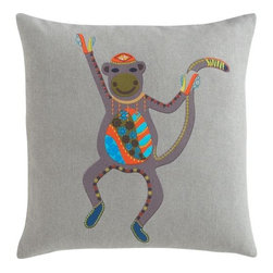 "hey hey 16"" pillow - funky monkey. You'll want this monkey on your back. Dancing chimp entertains Indian folk art on dark grey cotton square. Graphic tapestry pops bright blue, chartreuse, burnt orange and black, from beanie to booties. Flips to solid fog (see additional photos).- 100% cotton- Reverses to 100% cotton solid fog- Feather-down insert- Hidden zipper closure- Machine wash cold, tumble dry low- Made in India"