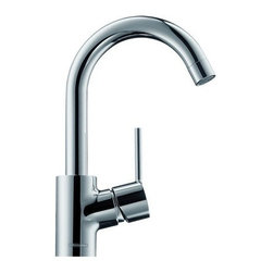 "Hansgrohe - Hansgrohe 32070821 Brushed Nickel Talis S Talis S Bathroom Faucet - Features:  All brass faucet body and handle construction Fully covered under Hansgrohe s limited lifetime warranty Hansgrohe faucets are designed and engineered in Germany Superior finishing process - finishes will resist corrosion and tarnishing through everyday use Single lever handle operation Low lead compliant- meeting federal and state regulations for lead content WaterSense Certified product- using at least 30% less water than standard 2.2 GPM faucets, while still meeting strict performance guide lines. Designed for use with standard U.S. plumbing connections All hardware needed for mounting is included with faucet Includes metal pop-up drain assembly  Specifications:  Overall Height: 10-1/2"" (measured from counter top to the highest part of the faucet) Spout Height: 7-1/2"" (measured from counter top to the spout outlet) Spout Reach: 5-3/4"" (measured from the center of the faucet base to the center of spout outlet) Mounting Type: Single hole Number of Holes Required for Installation: 1 Faucet Centers (Distance Between Handle Installation Holes): Single Hole Flow Rate: 1.5 GPM (gallons-per-minute) Maximum Deck Thickness: 1-5/8"" Metal lever handle included with faucet  Variations:   32070: This model 32113: Single hole version of this model with electronic sensor less drain assembly 32112: Single hole version of this model with electronic sensor and temperature control 32082: Single hole version of this faucet with 360 degree swivel 32040: Single hole version of this model 32030: Single hole version of this model with double knob handles  About Hansgrohe:  Founded in Germany's"
