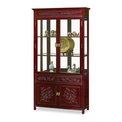 China Furniture and Arts - 40in Rosewood Flower & Bird Motif China Cabinet - Our elegant rosewood curio with hand-carved Flower & Bird motif is perfect for displaying your treasured collectibles. Museum quality mirror and halogen lighting bring out the beauty of art objects. Two doors and two drawers in the lower portion providing ample storage space for your convenience. Hand applied dark cherry finish.