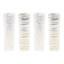 Rosanna Inc. - Luxe Moderne Glass Flutes, Set of 4 - These super-fine glasses, featuring 24-karat gold details, will instantly dress up a table, bar cart, or party!