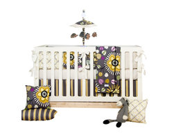 Glenna Jean - Melrose 3-Piece Crib Bedding Set - The Melrose Baby Crib Bedding Set by Sweet Potato features colorful large flowers in shades of marigold and citrine that boldly stand out against a warm gray background and are accented by richly colored leaves in shades of magenta, purple, black and teal. 100% cotton prints blend beautifully with a modern diamond key print in black and yellow. A fun color palette and bold prints brings modern style to a hip nursery.
