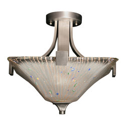 Toltec - Toltec 579-GP-641 Apollo Semi-Flush with 3 Bulbs Shown in Graphite Finish - Toltec 579-GP-641 Apollo Semi-Flush with 3 Bulbs Shown in Graphite Finish with Frosted Crystal Glass