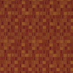 Red And Orange Geometric Boxes Contract Grade Upholstery Fabric By The Yard - P5652 is great for residential, commercial, automotive and hospitality applications. This contract grade fabric is Teflon coated for superior stain resistance, and is very easy to clean and maintain. This material is perfect for restaurants, offices, residential uses, and automotive upholstery.