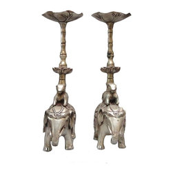 Golden Lotus - Pair Handmade Silver Plated Elephant Ram & Lotus Candle Holders - This is a pair of handmade candle holders. Two rams are carrying two lotus stands and sitting on the back of the elephants. It is made of copper and silver plated.