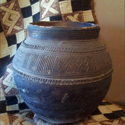 Fleur-de-Lis Flea Find ~ Nupe African Clay Pot - An African Clay Pot Made by the Nupes of Nigeria with Geometric Surface Designs Characteristic of this Tribe. Chipping Along the Rim, but Otherwise in Good Condition. Combine with Other African Décor, Or do the Ethnic Eclectic Thing, as I do...