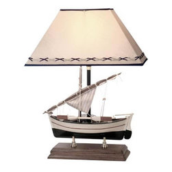 "Sailboat Lamp - The sailboat lamp is available in size 20""H. It features a sailboat w/ sail  oars mounted to a sturdy wood base. The lamp can take up to a 100 watt bulb but we recommend a 60 watt bulb just to be safe. The shade is off white in color and trimmed w/ dark blue. The colors of the boat include: cream, burgundy and green. It will add a definite nautical touch to wherever it is placed and is a must have for those who appreciate high quality nautical decor. It makes a great gift, impressive decoration and will be admired by all those who love the sea."