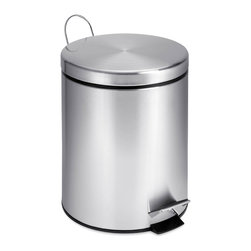 None - Round Stainless Steel Step Trash Can, 5-liter - A contemporary addition to any home or office, this 5 liter trash can boasts a sturdy construction for daily use. The steel foot pedal on this trash can provides hands-free operation to keep germs at bay.