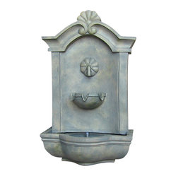 "Serenity Health & Home Decor - Marina Outdoor Wall Fountain French Limestone - Dimensions: 17""Wide x 10.5"" Deep x 29.5""High, 14 lbs"
