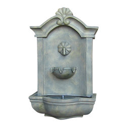 "Sunnydaze Decor - Marina Outdoor Wall Fountain French Limestone - Dimensions: 17""Wide x 10.5"" Deep x 29.5""High, 14 lbs"