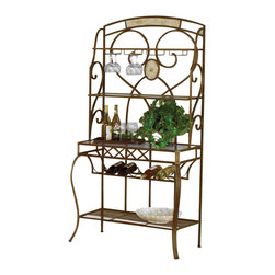 Hillsdale - Hillsdale Brookside Stone Bakers Rack with Wine Storage - Hillsdale - Bakers Racks - 4815850 - The Brookside Stone Bakers Rack features the lustrous depth and beauty of fossil stone and the classic effect of traditional designs. It boasts a beautifully styled decorative detail and gracefully scrolled metal work. Add the calmness and warmth of real stonework to your home.